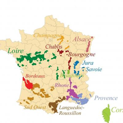 Carte regions vin de france