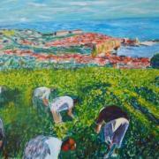 Vendanges a collioures universalite du vin peinture erick delille